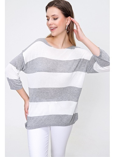 Butikburuç Kadın Siyah Beyaz Kalın Çizgili Triko Bluz Gri
